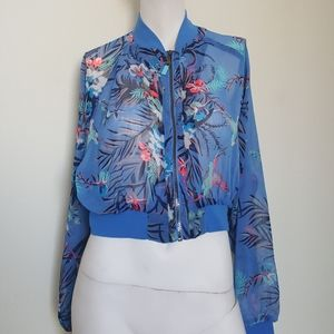 H&M floral printed sheer crop jacket